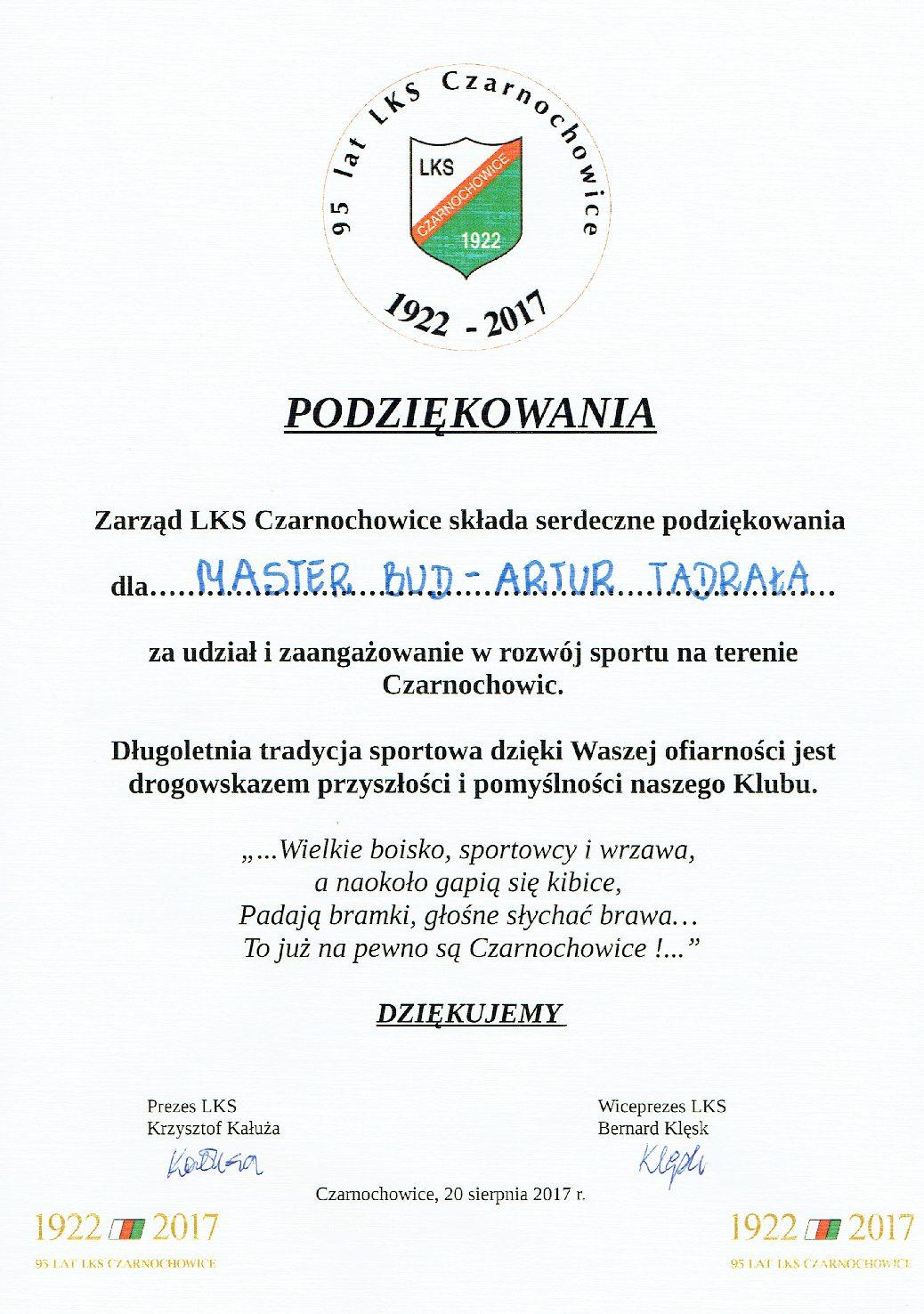 podziekowanie - Czarnochowice