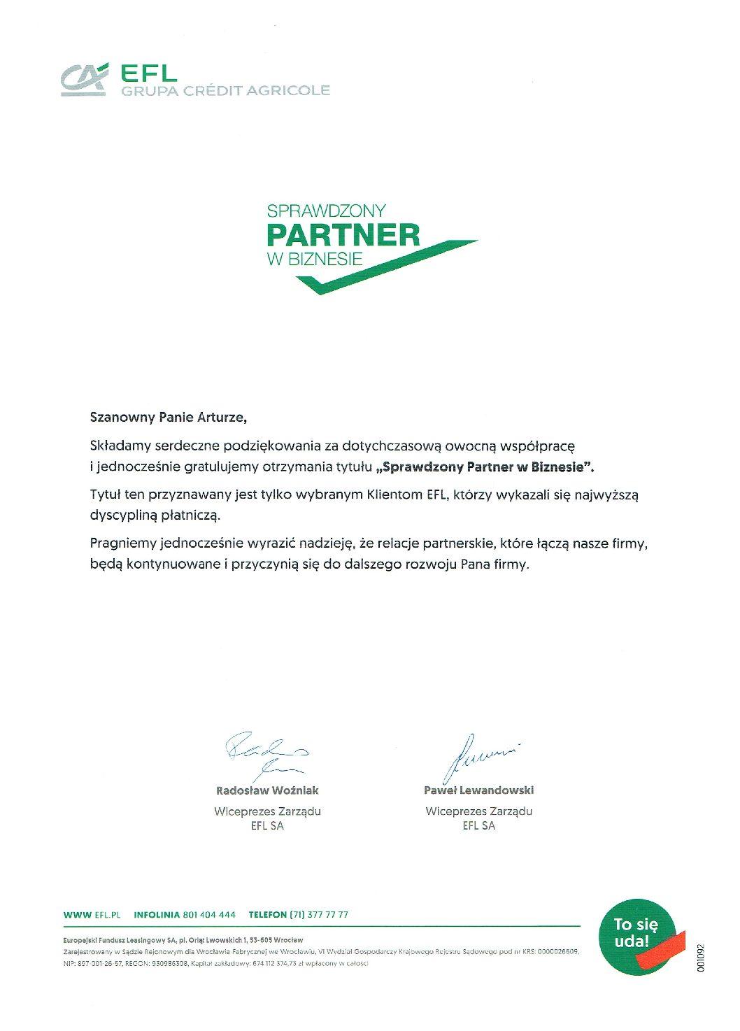Sprawdzony partner w biznesie